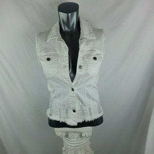 Xhilaration distressed white vest